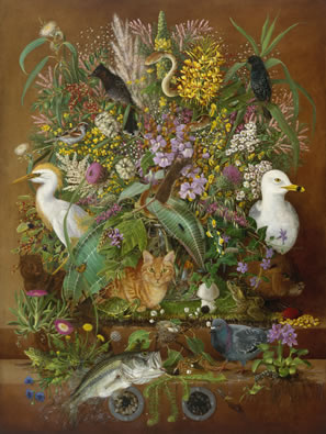 still-life of plants and animals