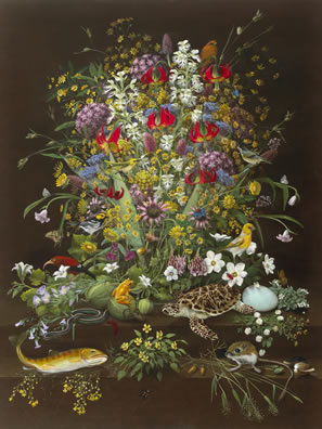 still-life artwork depicting plants and animals